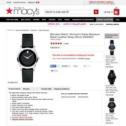 Movado Watch, Women's Swiss Museum Black Leather Strap 0606503 - All Watches - Jewelry & Watches