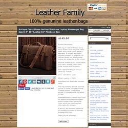 "Leather Family — Antique Crazy Horse leather Briefcase Laptop Messenger Bag Ipad 14"" 15"" Laptop 15"" Macbook Bag"