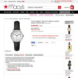 Timex Watch, Women's Black Leather Strap T2H331UM - Women's Watches - All Watches - Jewelry & Watches