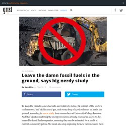 Leave the damn fossil fuels in the ground, says big nerdy study