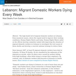 Lebanon: Migrant Domestic Workers Dying Every Week