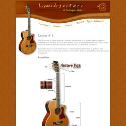 Leçon no. 1, La guitare. A horse with no name.