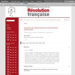 Les leçons de républicanisme de Thomas Paine (1802‑1807)