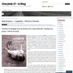 Note de lecture : «L'apparition (Perrine Le Querrec)