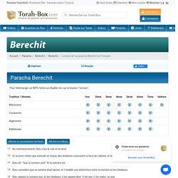 Lecture de la paracha Berechit en français