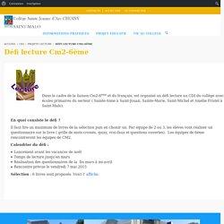 Défi lecture Cm2-6ème - Collège Sainte Jeanne d'Arc Choisy Saint Malo