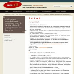 Club lecture : compilation de messages issus de la liste cdidoc-fr