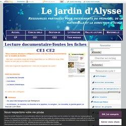 Jardin d'Alysse, lecture documentaire CE1-CE2