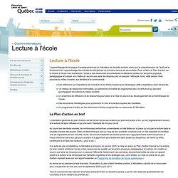 Plan d'action sur la lecture à l'école