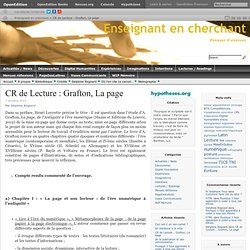 CR de Lecture : Grafton, La page