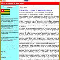 Notes de lecture - Histoire de la philosophie - Cercle N'KRUMAH KWAME (CINK)