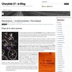 Le droit à la paresse (Charybde 27)