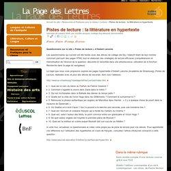 Pistes de lecture : la littérature en hypertexte