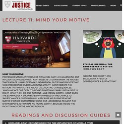 Lecture 11: Mind Your Motive – Harvard Justice