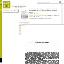 Lecture d'un chef-d'œuvre : Manon Lescaut