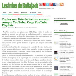 Copier une liste de lecture sur son compte YouTube, Copy YouTube Playlists