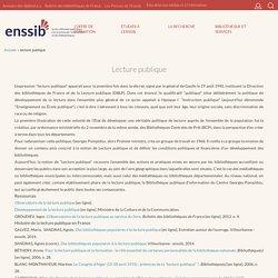Lecture publique : définition ENSSIB et bibliographie