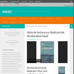 Note de lecture sur Radicant de Nicolas Bourriaud