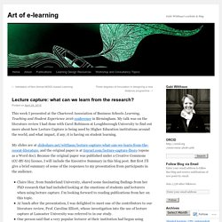 Lecture capture: what can we learn from the research?