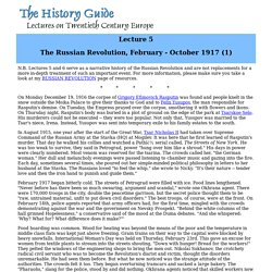 Lecture 5: The Russian Revolution (1)