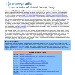 Lectures on Ancient and Early Medieval History - Main