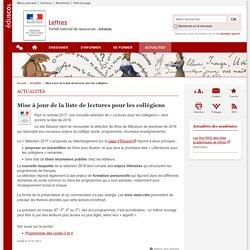 Mise à jour de la liste de lectures pour les collégiens-Lettres-Éduscol