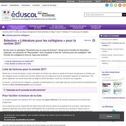 Lectures pour les collégiens - Sélection 2016 (Eduscol)