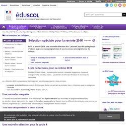 Lectures pour les collégiens - Sélection 2016