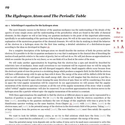 The Feynman Lectures on Physics Vol. III Ch. 19: The Hydrogen Atom and The Periodic Table