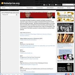 Video Nobel Lectures from Nobel Laureates in Literature