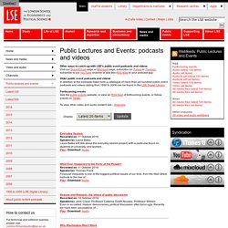 Public Lectures and Events: podcasts and videos - Public lectures and events - Channels