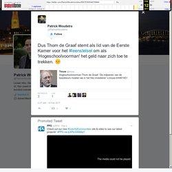 """Patrick Woudstra on Twitter: """"Dus Thom de Graaf stemt als lid van de Eerste Kamer voor het #leenstelsel om als 'Hogeschoolvoorman' het geld naar zich toe te trekken. □"""