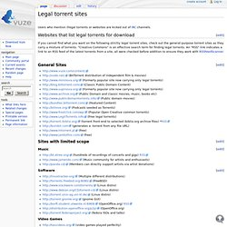 Legal torrent sites - AzureusWiki
