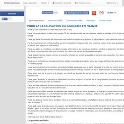 POUR LA LEGALISATION DU CANNABIS EN FRANCE