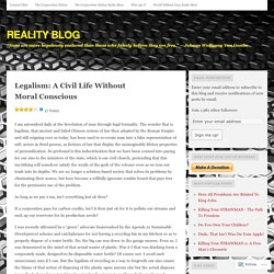 Legalism: A Civil Life Without Moral Conscious