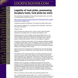 Legality of lock picks, possessing burglary tools, lock picks legality