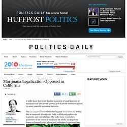 Here's What They Say: Marijuana Legalization Opposed in California