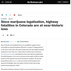Since marijuana legalization, highway fatalities in Colorado are at near-historic lows