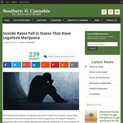 Suicide Rates Fall in States That Have Legalized Marijuana - SouthernCannabis.org