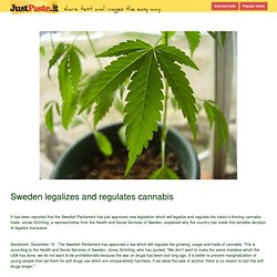 Sweden legalizes and regulates