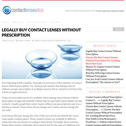 Legally Buy Contact Lenses Without Prescription
