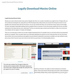 Legally Download Movies Online