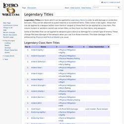 Legendary Titles - Lotro-Wiki.com