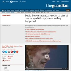 David Bowie: legendary rock star dies of cancer aged 69 – updates – as they happened