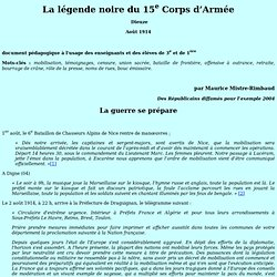 01/08/1914 légende Noire du 15e Corps d'Armée