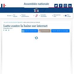 Lutte contre la haine sur internet (Dossier législatif en version repliée) - Assemblée nationale