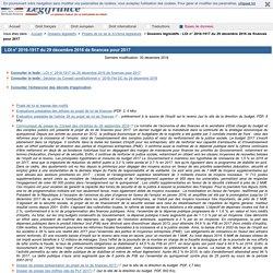 Dossiers législatifs - LOI n° 2016-1917 du 29 décembre 2016 de finances pour 2017