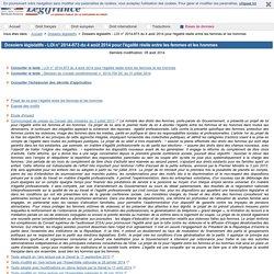 Dossiers législatifs - LOI n° 2014-873 du 4 août 2014 pour l'égalité réelle entre les femmes et les hommes