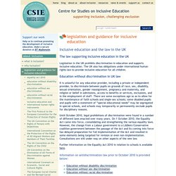 Legislation and guidance for inclusive education