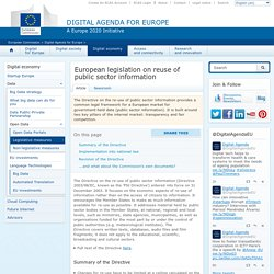 European legislation on reuse of public sector information - Digital Agenda for Europe